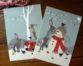 Lot de 2 cartes postales Noël