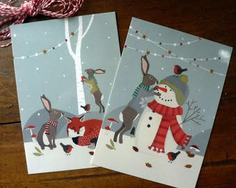Set of 2 Christmas postcards