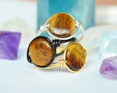 Tigers Eye Ring of Fortune - Good Luck Wire Wrapped Ring - Made to Order - Golden Ring