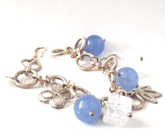 Vintage Sterling Silver Blue Jade Bead and Square Cube Link Charm Bracelet, Handmade