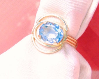 Vintage Blue Topaz 18K Yellow Gold Ring, 1950's, Custom Made, Free Shipping