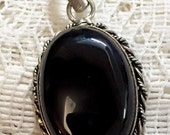 Vintage Silver with Black Onyx Pendant