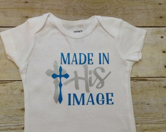 NEW DESIGN Made in His Image boy's bodysuit blue or navy