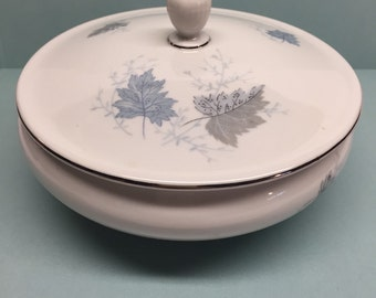 White Porcelain Covered Candy Dish Gray and Blue Leaves West Germany