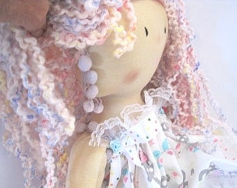 Shabby chic large handmade cloth doll