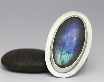 Labradorite and Sterling Ring, Blue Flash Labradorite, Labradorite Statement Ring, Size 9