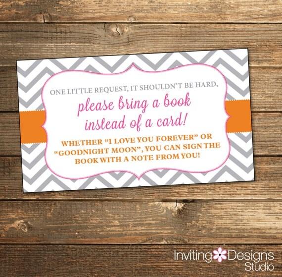 Chevron Baby Shower Book Request - Pink Orange