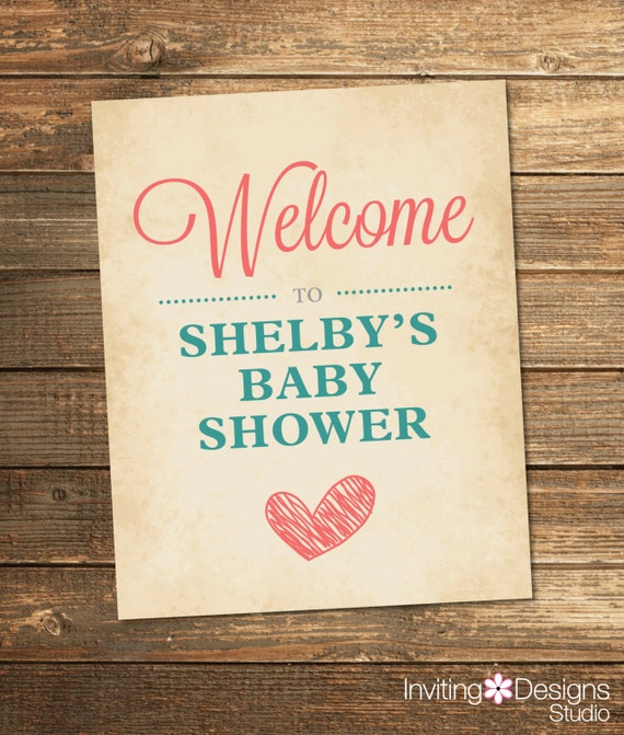 Baby Love Shower Welcome Sign - Coral Teal