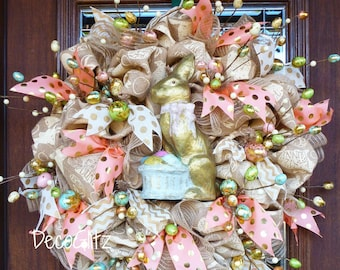 Elegant Burlap Easter Wreath with GILDED BUNNY and EGGS
