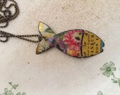 """Tin Jewelry Fish Necklace """"Fish Out of Water"""" #2 Tin for the Ten Year Tenth Wedding Anniversary"""