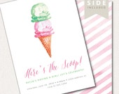 Ice Cream Invitation - Watercolor Printable for Ice Cream Social Party - Summer Party - Baby Shower