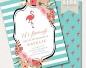 Flamingo Birthday Invitation - Flamingo Birthday Party Invite