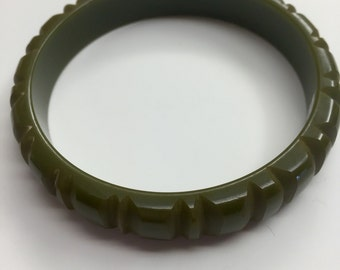 Bakelite Bangle Carved Green set and large lot also available