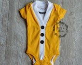 Baby Cardigan Onesie Set - Mustard Yellow Short Sleeve Cardigan & Bow Tie Set- Baby Boy or Baby Girl Cardigan Onesie Set