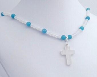 Rock Crystal Stone Cross Blue Quartz Pendant Necklace