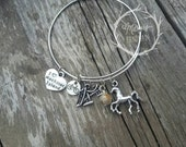 SALE! Mackinac Island bracelet - Michigan charm bangle bracelet with bridge, Petoskey stone, bike and Mackinac Island charms.