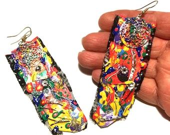 Canvas earrings Lace earrings Abstract  earrings Hand painted