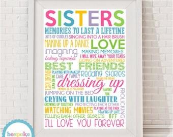 Sisters Typographic Print