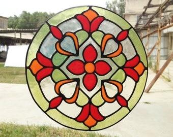 Mandala - Stained Glass - Handmade window sticker -  home decor  -  window decoration - Suncatcher -  glueless cling