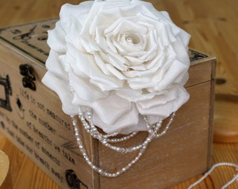 Silk Rose Bridal Headpiece ~ Hair jewellery