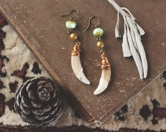 Feminine Earthy Coyote Tooth Dangle Earrings