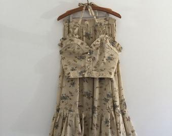 Vintage 70's Crop Two Piece Peasant Dress / Prairie Skirt S