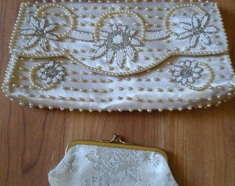 60s Ivory beaded clutch with small coin purse Hand made in Japan by Sarne of California Imports