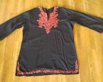 80s black embroidered ethnic hippie tunic shirt
