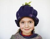 Purple bell flower hat for a girl - Felted floral hat - Unique designer hat - Kids Carnival flower hat - Costume party - Fancy ball hat