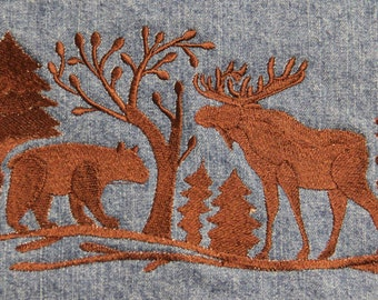 Woman's Medium Denim Vest with Embroidered Woodland Scene-Moose/Bear/Pine Trees