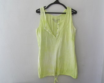 Womens Green Tank Top, Dyed Cotton Tunic Top Loose Fit L, Hand Dyed Summer Clothing