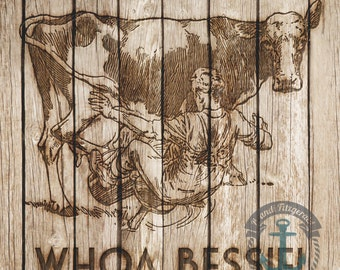Farmhouse Chic Cow Whoa Bessie | Distressed Wood Barn Life Wall Decor Product Options and Pricing via Dropdown Menu