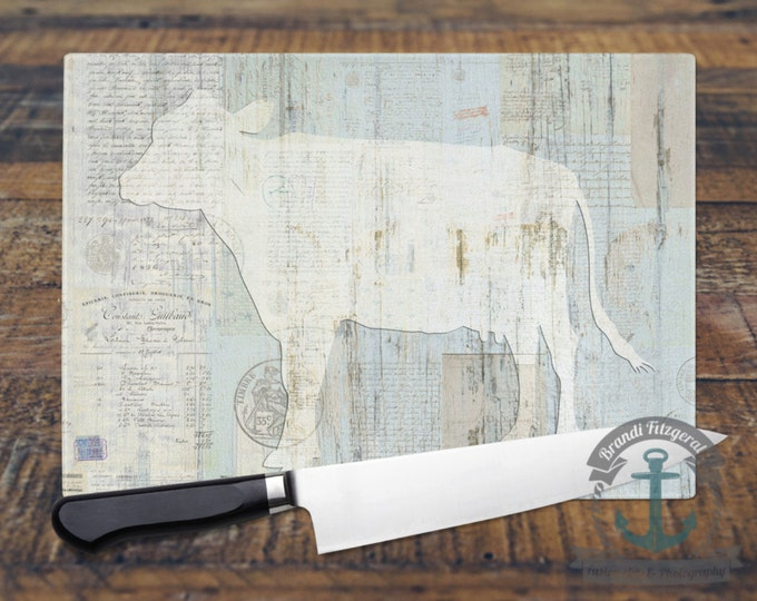 Featured listing image: Glass Cutting Board - Cow Vintage Farmhouse Chic Decor | Small or Large Kitchen Art for Your Countertop.
