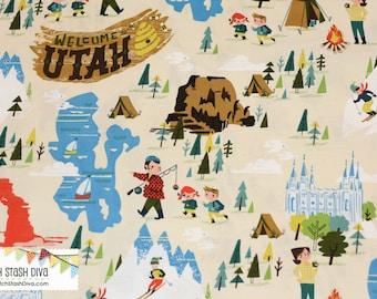 """Fat Quarter ONLY (18""""x22"""") of Welcome to Utah on Cream Fabric from Riley Blake"""