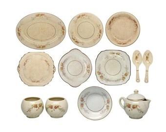 Vintage floral Harker Pottery dish set