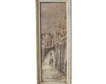 Framed art painting of street view