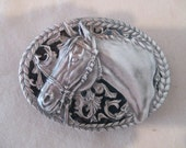Buckle Vintage Horse Head, Black Enamel Gray Pewter Equestrian Cowgirl Cowboy Horseback Riding Rodeo Barrel Racing Dressage NOS Made in USA