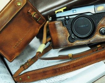 Cow leather case for Fujifilm X-Pro2 xpro2 include leather full case and leather strap in vintage brown