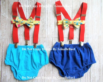 Circus Birthday cake smash outfit carnival baby shower bow tie suspenders Royal or light blue diaper cover Optional Hat 12 18 24 toddler