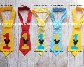 Mickey Mouse Birthday cake smash tie necktie I am one chevron baby blue clubhouse first Party à la carte 1 2 3 4 5 costume 12 18 24 toddler