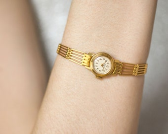 Very small woman watch Ray, women's watch bracelet gold plated, lady wristwatch round very rare, cocktail watch her, petite lady watch gift