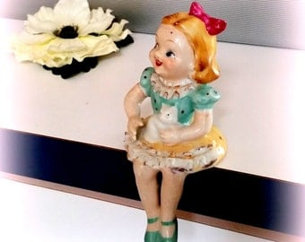 Darling Mid Century Girl with Kitty - Sits on Shelf Ledge - Vintage Figurine - Occupied JAPAN