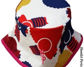 African Queen Fuchsia Brim Bucket Hat | Afro | Afrocentric Hat | Natural Hair | African Silhouette | Red Blue Gold Hat by Hamlet Pericles