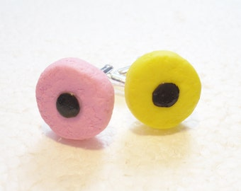 Licorice Allsorts Cufflinks. Polymer Clay.