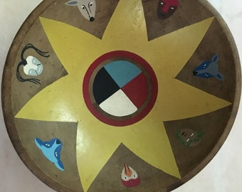 Vintage Munising Wooden Dough Style Bowl with Painted Native American Theme