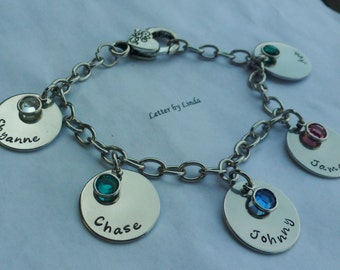 Family Charm Bracelet..with birthstones..Gorgeous stainless steel Family bracelet, Birthstone Bracelet, Name Bracelet, Personalized Bracelet