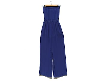 Vintage Royal Blue Chiffon Strapless Jumpsuit / Halter Top Jumpsuit