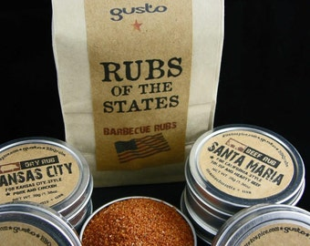 BBQ RUBS of the STATES - Barbecue Rub Gift Set - Great for Magnetic Spick Rack