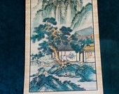 Japanese Asian bamboo wall scroll 1960s
