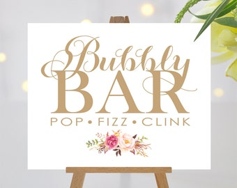 Bubbly Bar Sign | 8 x 10 Sign | DIY Printable | Vintage | Antique Gold | Romantic Blooms Accent | PDF and JPG Files | Instant Download